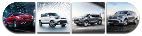 From left to right: The 2019 Kia Sportage, 2019 Kia Soul, 2019 Kia Niro, and 2019 Kia Sorento